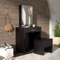 Laporte Vanity Set with Mirror Wade Logan Color: Cappuccino Wood Makeup Vanity, Bedroom Makeup Vanity, Makeup Rooms, Bedroom Vanities, Makeup Vanities, Wood Vanity, Vanity Table Set, Vanity Set With Mirror, Vanity Desk