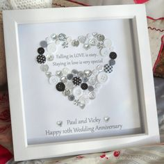 Personalised Heart Wedding Anniversary / New Engagement Button