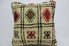 16x16 Embroidered Kilim Pillow floor pillow Turkish Kilim Pillow Cushion Cover Multicolour pillow throw pillow natural pillow SP4040-953