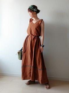 ご覧頂きありがとうございます 『ブラウン × グリーン』 最近ブラウン系がとっても気になります。 グ Non Uniform, Turban, Bridesmaid Dresses, Summer Dresses, How To Wear, Image, Dress Ideas, Style, Fashion