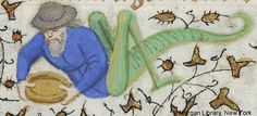 Hybrid man, wearing hat, with body of grasshopper, holding bowl with both hands | Book of Hours | France, Paris | ca. 1420–1425 | The Morgan Library & Museum