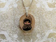 Woodland Pendant  Hand painted wood slice jewelry  by pipodoll, $25.00