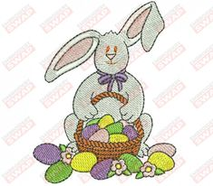 Easter Bunny Machine Embroidery Design File Embroidery Files, Machine Embroidery Designs, Design Files, Easter Bunny, Sewing, Dressmaking, Couture, Sew, Stitching