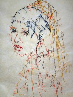 Embroidery Art by Guacolda - Art Fucks Me Portrait Embroidery, Embroidery Art, Embroidery Stitches, Embroidery Designs, Thread Art, Thread Painting, Sculpture Textile, Contemporary Embroidery, Textiles