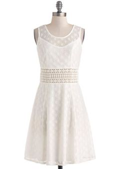 Long Time Coming ivory A-line Dress, floral-and-diamond printed lace overlay , #ModCloth