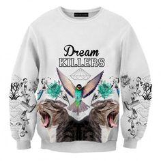 Dream Killers Sweatshirt #sweatshirt #sweats #print #printed #streetwear #streetfashion #streetwear #brzozowskafashion #brzozowska #fashion #tattoo #inked #fullprint #bluzy #bluza #biała #nadruk #autorski #odprojektanta #tatuaże #grafika