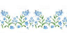 Forget-me-not seamless watercolor horizontal border. Seamless floral frame - Royalty-free Forget-Me-Not stock illustration Free Vector Graphics, Free Vector Art, Free Vector Images, Botanical Art, Botanical Illustration, Forget Me Not Tattoo, Floral Illustrations, Image Now, Vintage Images