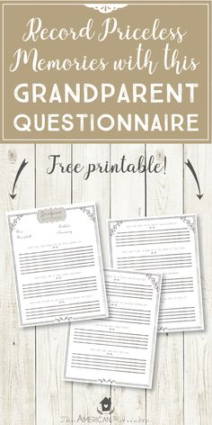 Grandparent Questionnaire - Have Grandparents Write down Memories and Advice for their Grandkids Grands Parents, Grandchildren, Granddaughters, Family History Book, Grandmothers Love, Questionnaire, Journal Writing Prompts, Family Genealogy, Genealogy Sites