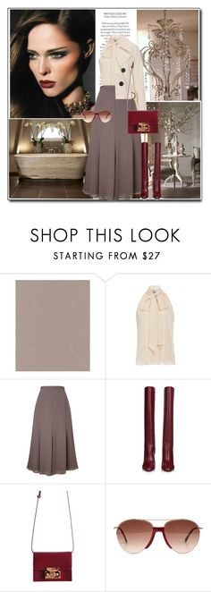 """""""Taupe & Burgundy"""" by littlefeather1 ❤ liked on Polyvore featuring Graham & Brown, Oscar de la Renta, Jacques Vert, Diane Von Furstenberg, Subella London, Smoke x Mirrors, topsets and polyvoreeditorial"""