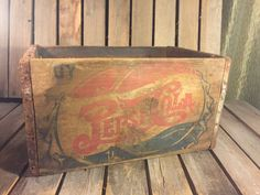Vintage Pepsi 8 Wood and Metal Crate Vintage by UpTheAntiqueCo