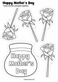 Mothers Day Crafts For Kids, Mothers Day Cards, Happy Mothers Day, Diy For Kids, Mother's Day Activities, Craft Activities For Kids, Preschool Crafts, Mothers Day Coloring Pages, Mother's Day Printables