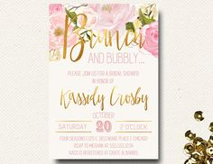 Bridal Shower Invitation Brunch Champagne Bubbly Floral Gold Floral Pink