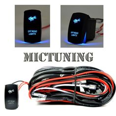 MICTUNING LED Light Bar Wiring Harness 30 AMP Fuse On/Off Blue Laser Rocker Switch (2 Lead 12ft)