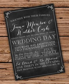 Chalkboard Vintage Chic Wedding Invitation by OliveJuiceStationery