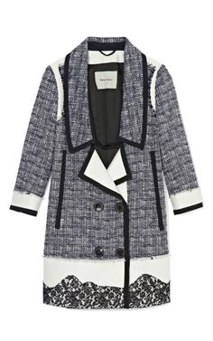 Flower Print On Tweed Coat by Peter Som Now Available on Moda Operandi