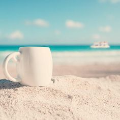 GM from Cancun. I prefer my coffee by the beach. Coffee Art, My Coffee, Bahamas Resorts, Sun Worship, My Happy Place, Cancun, Chemistry, Are You Happy, Mugs