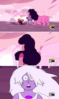 She sees Rose <<< Wth? That's not what Amethyst's expression means! It means that she's shocked/surprised that Stevonnie didn't need any help taking down Jasper! Steven Universe Theories, Steven Universe Comic, Universe Love, Gay, Steven S, Force Of Evil, Super Smash Bros, Cartoon Network, Jasper