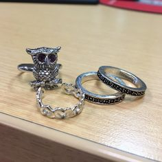 Silver ring bundle, size 6 and 7 Silver ring bundle, owl is Sarah Coventry. Owl and hearts can be adjusted for size, but heart fits between a 5-6 best. Stackable bands fit a 6.                                                                           ⭐️️Qualifies for BOGO 50%⭐️                              can combine rings from other bundles to create an individualized bundle, just comment and let me know what you want! Sarah Coventry  Jewelry Rings