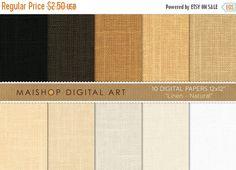 70% OFF SALES Digital Paper Linen - Natural - White Beige Brown... Printable Digital Images for Online Scrapbooking Photo Books Decoupag MaishopDigitalArt 0.75 USD