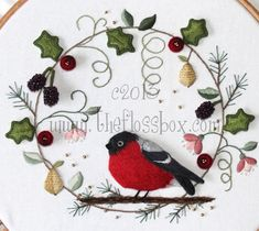 The Floss Box | Christmas Wreath Embroidery - hand embroidery. Isn't it beautiful?