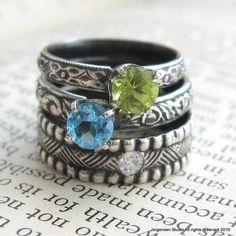 Peridot Gemstone Ring Stacking Ring Sterling by jorgensenstudio, $62.00