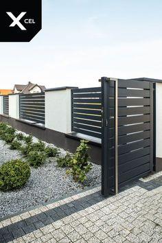 // Nowoczesne ogrodzenie aluminiowe Arete H, ideas decoration patio Arete Horizon modern aluminum fence. // Nowoczesne ogrodzenie aluminiowe Arete H, Brick Fence, Front Yard Fence, Diy Fence, Backyard Fences, Fence Landscaping, Fence Stain, Fence Art, Cedar Fence, Bamboo Fence