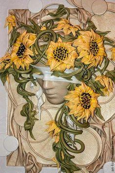 КЛИТИЯ - жёлтый,подсолнухи,цветы,лицо,италия,фантазия,маска,маскарад,кожа