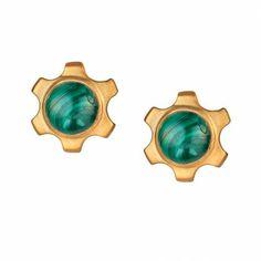 OCT 2013-Charm & Chain | Amalia Malachite Studs - New Arrivals - Jewelry