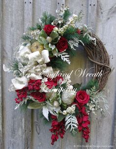 Christmas Wreath, Holiday Wreath, Designer Christmas Wreath, Victorian Christmas, Elegant Holiday Wreath, Poinsettia Wreath
