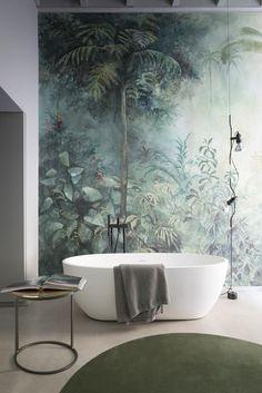 Forest wallpaper for #ContemporaryInteriorDesignbathroom