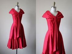 50s Dress - Vintage 1950s Party Dress - Red Designer Princess Mermaid Hem Cocktail Party Dress S M - Sailor's Valentine Dress