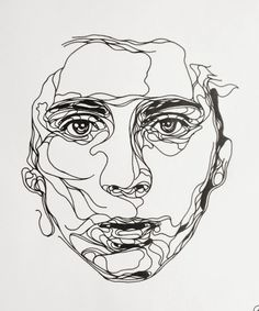Ink drawing, by Kris Trappeniers. a continuous line drawing of a portrait Art And Illustration, Portrait Illustration, Art Illustrations, Kunst Inspo, Art Inspo, Kris Trappeniers, Draw Realistic, Contour Line Drawing, Contour Drawings