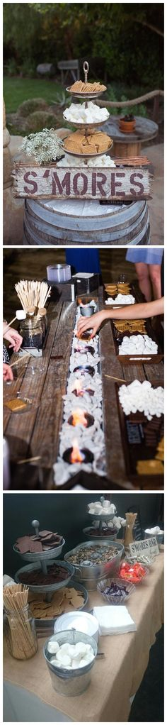 rustic wedding dessert ideas - rustic smores wedding bar ideas #weddings #rusticweddings #weddingideas #countryweddings #weddingreception