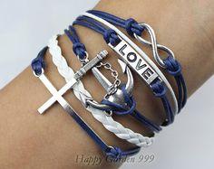 Infinity Anchor Cross & Love BraceletAntique by happygarden999, $6.59
