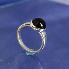 Black Onyx Ring Sterling Silver Handmade by RichieStubStudio on Etsy