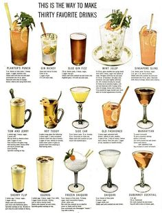 LIFE Magazine from 1946 - how to make 30 favorite classic cocktails! Bar Drinks, Cocktail Drinks, Cocktail Recipes, Alcoholic Drinks, Beverages, Vintage Cocktails, Classic Cocktails, Tequila, Vodka