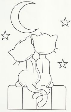 Hand Embroidery Design Cats and a moon. Could use this as an applique on a quilt… Applique Templates, Applique Patterns, Applique Designs, Quilt Patterns, Embroidery Designs, Cat Crafts, Paper Crafts, Coloring Books, Coloring Pages