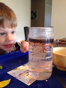 Fireworks in a Jar. Toddler/ preschool science experiment