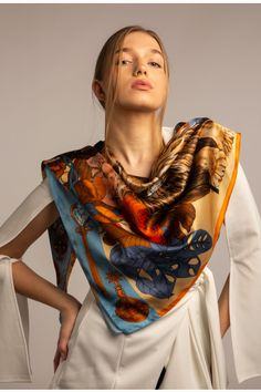Summer silk scarf outfit. The Mysterious Lion King Ilona Tambor art silk scarves THE❤BEAST❤SHOP❤OFFERS❤