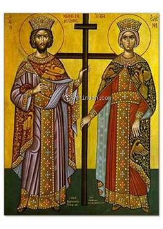 Saint Constantine and Helen, full body hand painted icon Mt. Athos - 16×21