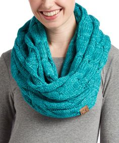 Another great find on #zulily! Teal Cable-Knit Infinity Scarf #zulilyfinds