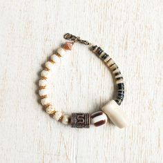 Tribal Inspired Bracelet With White Coral Branch by kellyssima
