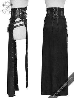 Q-298fem Katana - women's open sides skirt by Punk Rave   Gothic, Steampunk, Metal, Punk, Lolita, Fetish fashion style e-shop. Punk Rave, RQ-BL, Fantasmagoria clothing brands