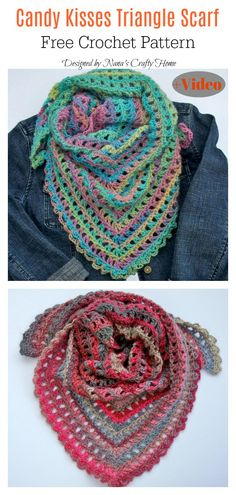 Knitting and Crochet Scarves - Candy Kisses Triangle Scarf Free Crochet Pattern and Video Tutorial Love Crochet, Diy Crochet, Crochet Crafts, Simple Crochet, Diy Crafts, Crochet Scarves, Crochet Shawl, Crochet Stitches, Crochet Mittens