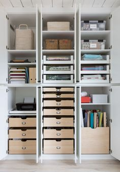 Wonderful Craft Room Organization by California Closets: camille styles studio! our craft room reveal Home Office Space, Home Office Design, Home Office Decor, Home Decor, Office In A Closet, Front Office, Library Design, California Closets, Office Organization At Work