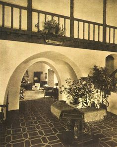 "An interior view of ""The Enchanted Hill"" estate (1925) built by Wallace Neff for Fred Thomson and Frances Marion 