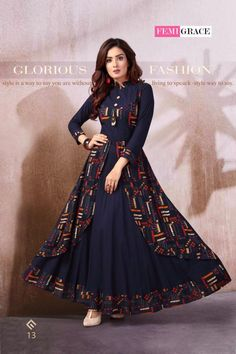 Madhuram Femigrace Vol 3 Printed Rayon Long Flair Readymade Kurtis Collection at Wholesale Rate Frock Fashion, Indian Fashion Dresses, Indian Gowns Dresses, Indian Designer Outfits, Stylish Dresses For Girls, Stylish Dress Designs, Frocks For Girls, Designs For Dresses, Designer Anarkali Dresses