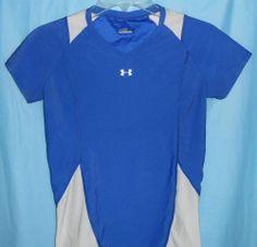 UNDER ARMOUR Women Sz M Medium Royal Blue & White Short Sleeve Athletic Top