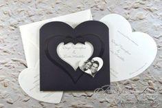 Partecipazioni di matrimonio con finestra e foto a cuore