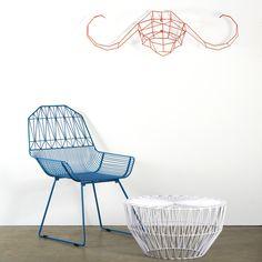 """Bend Goods Farmhouse Chair Peacock Blue w White Drum Table   Gaurav Nanda   Chair: H 32"""", W 22"""" D 25"""" SH 16""""   Table: H 12.6"""", D 25"""""""